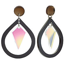 Buy Toolally Pear And Diamond Shaped Drop Earrings, Black/Iridescent Pink Online at johnlewis.com
