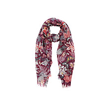 Buy Oasis Botanical Floral Print Scarf, Burgundy Online at johnlewis.com