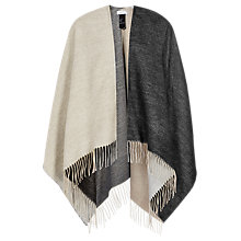 Buy Reiss Lomax Geometric Double Faced Poncho, Neutral/Black Online at johnlewis.com