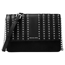 Buy MICHAEL Michael Kors Brooklyn Large Leather Across Body Bag, Black Online at johnlewis.com