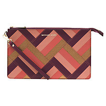 Buy MICHAEL Michael Kors Daniela Marquetry Patchwork Large Leather Wristlet, Plum Online at johnlewis.com