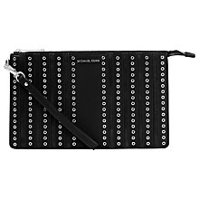 Buy MICHAEL Michael Kors Large Leather Wristlet Pouch Purse, Black Online at johnlewis.com
