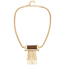 Buy Adele Marie Round Mesh Chain Tassel Pendant Necklace, Gold/Brown Online at johnlewis.com