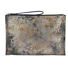 Buy Jigsaw Ivy Medium Textured Leather Clutch Bag, Rose Gold Online at johnlewis.com
