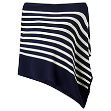 Buy Jigsaw Knitted Stripe Poncho, Navy/Cream Online at johnlewis.com