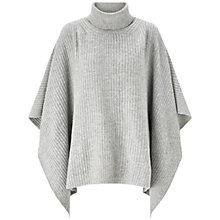 Buy Jigsaw Roll Neck Ribbed Poncho, Pale Grey Online at johnlewis.com
