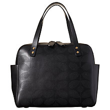 Buy Orla Kiely Sixties Stem Punched Leather Caraway Bag, Black Online at johnlewis.com