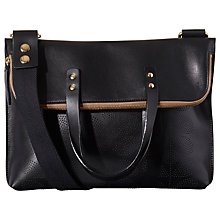 Buy Orla Kiely Sixties Stem Punched Leather Juniper Bag, Black Online at johnlewis.com