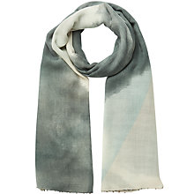 Buy Jigsaw Seren Print Beaded Scarf, Blue Online at johnlewis.com