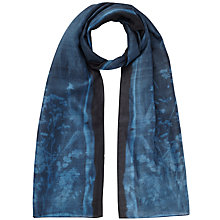 Buy Jigsaw Floral Exposure Silk Scarf, Dark Grey Online at johnlewis.com