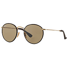 Buy Ray-Ban RB3475Q Round Craft Sunglasses, Gold/Brown Online at johnlewis.com