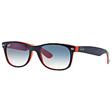 Buy Ray-Ban RB2132 New Wayfarer Colour Mix Sunglasses, Navy/Orange Online at johnlewis.com