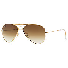 Buy Ray-Ban RB3479 Aviator Folding Sunglasses, Gold/Brown Gradient Online at johnlewis.com