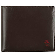 Buy Original Penguin Simple Edge Paint Leather Wallet, Coffee Bean Online at johnlewis.com
