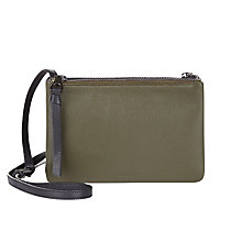 Buy Jaeger Leather Double Pouch Clutch Bag, Olive Online at johnlewis.com