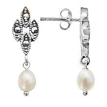 Buy Goldmajor Sterling Silver Marcasite and Freshwater Pearl Drop Earrings, Silver/White Online at johnlewis.com