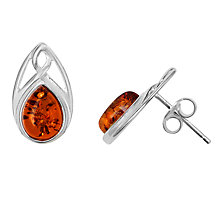 Buy Goldmajor Sterling Silver Amber Celtic Stud Earrings, Silver/Orange Online at johnlewis.com