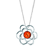 Buy Goldmajor Sterling Silver Amber Flower Pendant Necklace, Silver Online at johnlewis.com
