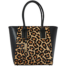 Buy Dune Damazing Leather Shopper Bag, Leopard Online at johnlewis.com
