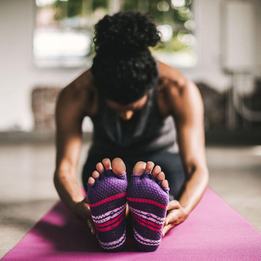 Gaiam Gaiam Mary Jane Socks, Pink/Purple, S/M