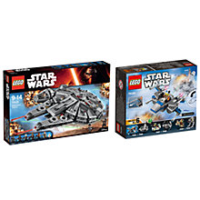 Buy LEGO Star Wars Millennium Falcon Bundle With Resistance X-wing Fighter Microfighter Online at johnlewis.com