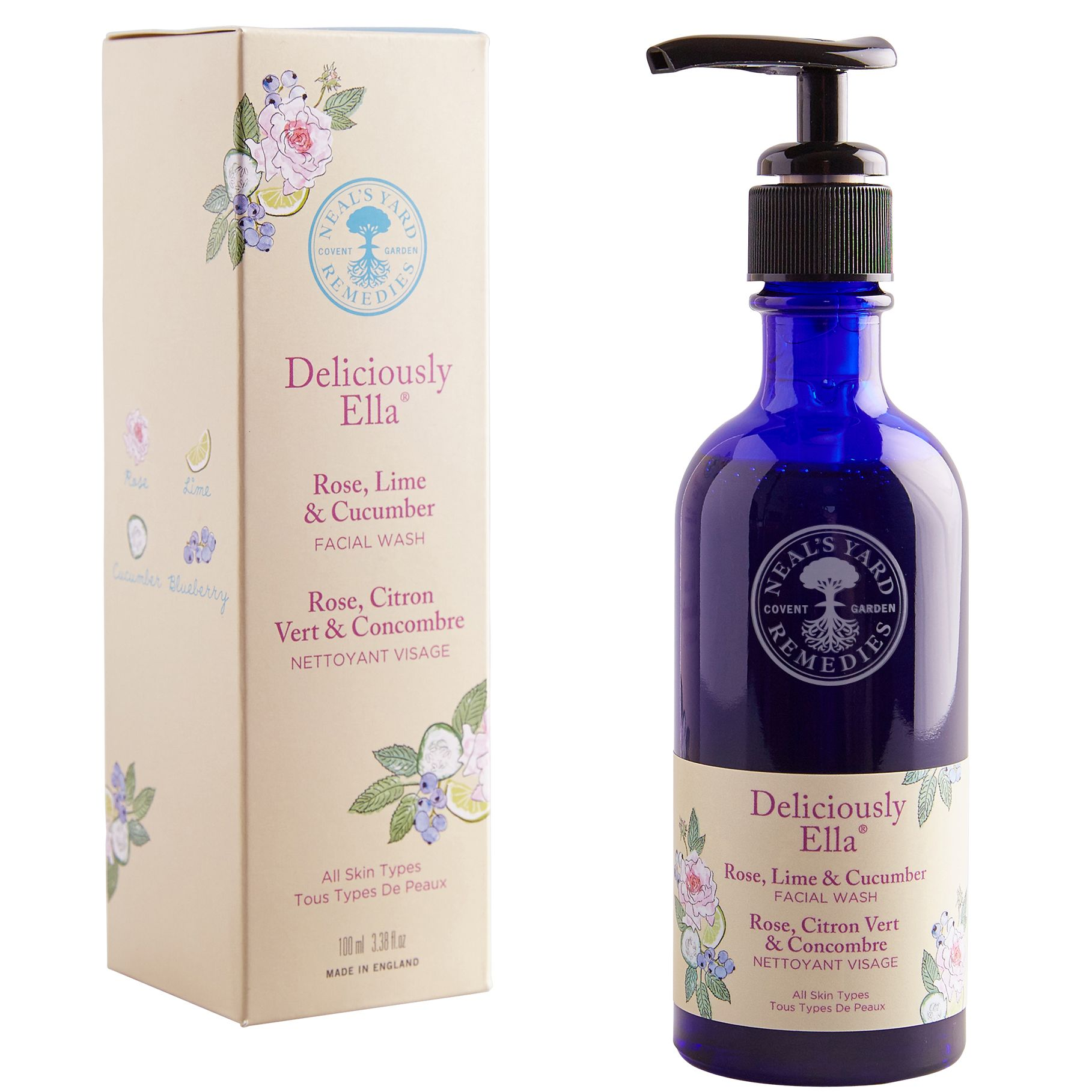 Neal's Yard Neal's Yard Deliciously Ella Rose, Lime and Cucumber Facial Wash, 100ml