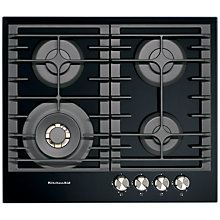 Buy KitchenAid KHGD4 Integrated Gas Hob, Black Online at johnlewis.com