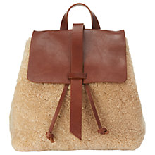 Buy Jigsaw Blake Shearling Backpack, Cream Online at johnlewis.com