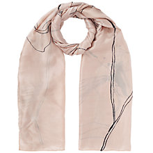 Buy Jigsaw Linear Flower Silk Print Scarf, Dusky Pink Online at johnlewis.com