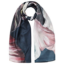 Buy Jigsaw Magnified Floral Silk Scarf, Navy Online at johnlewis.com