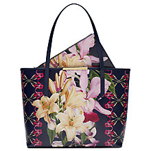 Buy Ted Baker Bernece Botanical Trail Leather Shopper Bag, Navy Online at johnlewis.com