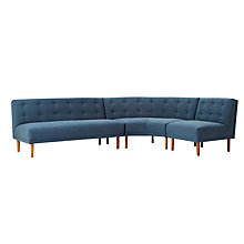 Buy west elm Rounded Retro Sectional Sofa, Regal Blue Pecan Linen Weave Online at johnlewis.com