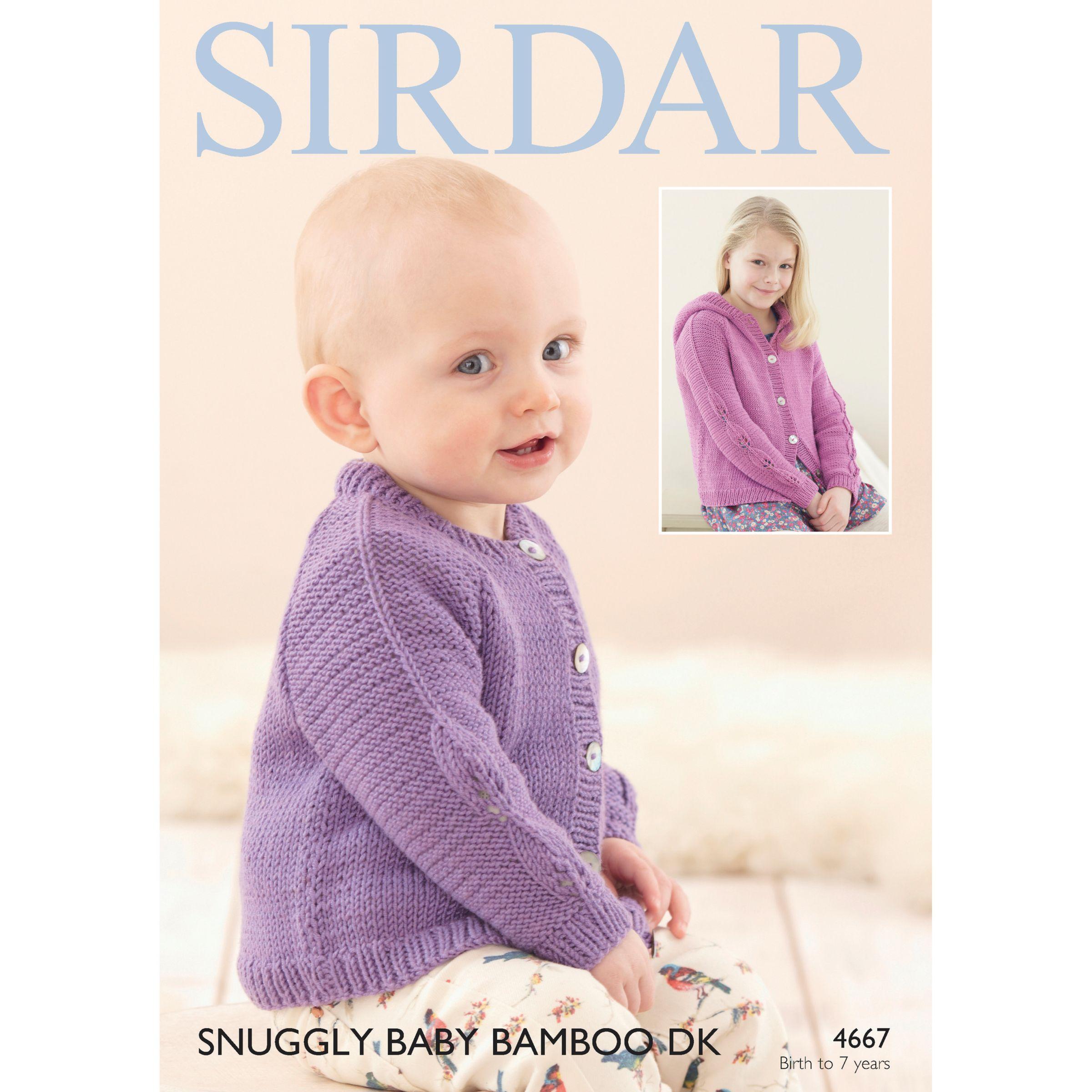 Buy Sirdar Snuggly Baby Bamboo DK Cardigan Knitting Paper Pattern, 4667 Joh...
