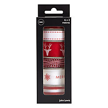 Buy John Lewis Christmas Ribbons, 2m, Pack of 6, Red/White Online at johnlewis.com