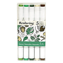 Buy Johanna Basford Enchanted Forest Colouring Marker Pens, Pack of 5, Nature Online at johnlewis.com