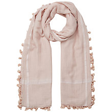 Buy East Silk Blend Pom Pom Scarf, Oatmeal Online at johnlewis.com