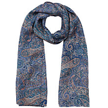 Buy East Adeline Print Silk Scarf, Blue Online at johnlewis.com