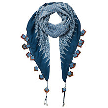 Buy East Ella Print Silk Scarf, Dark Denim Online at johnlewis.com