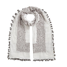 Buy East Hand Embroidered Pom Pom Scarf Online at johnlewis.com