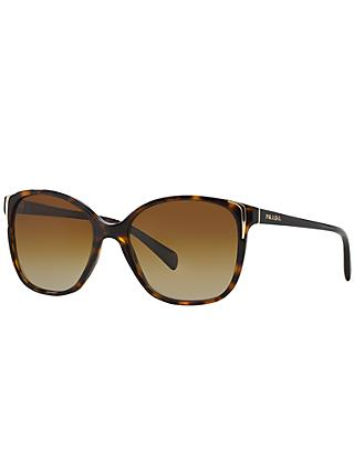Prada PR01OS Polarised Square Sunglasses, Tortoiseshell