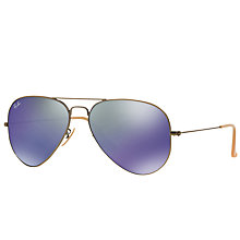 Buy Ray-Ban RB3025 Aviator Flash Sunglasses, Gold/Mirror Purple Online at johnlewis.com