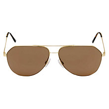 Buy Dolce & Gabbana DG2129 Aviator Sunglasses, Gold/Brown Online at johnlewis.com