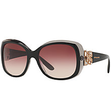 Buy Bvlgari BV8172B Embellished Square Gradient Sunglasses, Black/Red Gradient Online at johnlewis.com