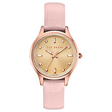 Buy Ted Baker TE10030743 Women's Zoe Leather Strap Watch, Pink/Gold Online at johnlewis.com