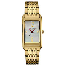 Buy Ted Baker TE10031189 Women's Bliss Rectangular Bracelet Strap Watch, Gold/Mother of Pearl Online at johnlewis.com