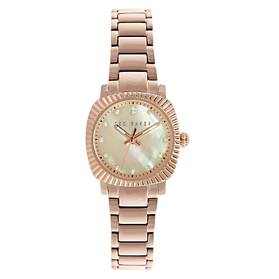 Ted Baker TE10024720 Women's Victoria Crystal Bracelet Strap Watch, Rose Gold/Mother of Pearl