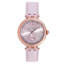 Buy Ted Baker TE10023475 Women's Lotte Crystal Leather Strap Watch, Blush Online at johnlewis.com
