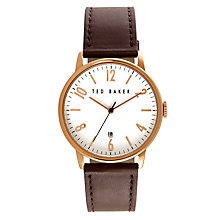 Buy Ted Baker Men's Tom Date Leather Strap Watch Online at johnlewis.com