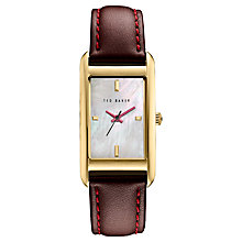 Buy Ted Baker Women's Bliss Rectangular Leather Strap Watch Online at johnlewis.com