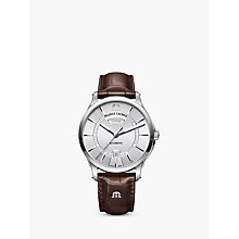 Buy Maurice Lacroix PT6358-SS001-130-1 Men's Pontos Automatic Day Date Leather Strap Watch, Brown/Silver Online at johnlewis.com